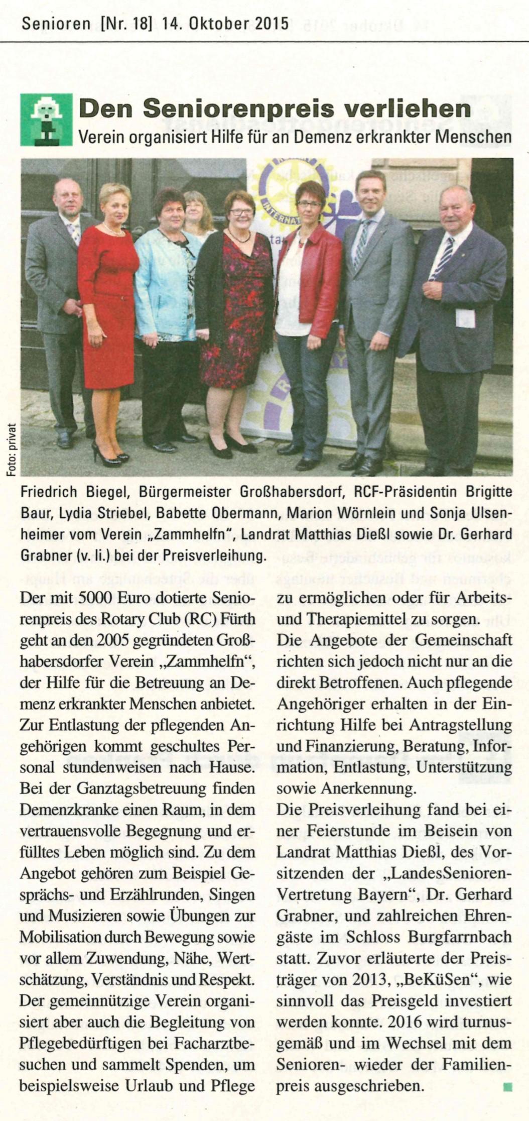 Seniorenpreis 2015 RCFürth_Stadtzeitung